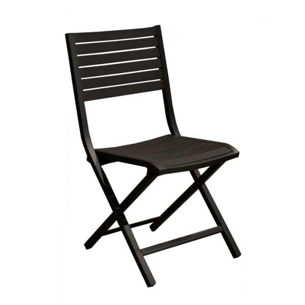 Salon de jardin PROLOISIRS Table EOS 130/180 rouge + 6 chaises LUCCA  graphite