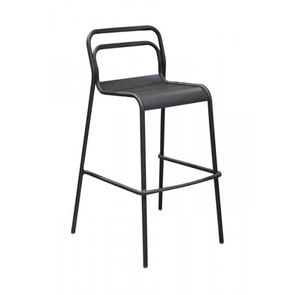 Salon de jardin PROLOISIRS Table haute EOS graphite 140 + 4 chaises ...