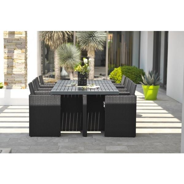 Salon de jardin DCB Encastrable - plateau en aluminium, 8 personnes
