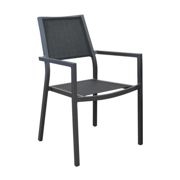 Salon de jardin Tahaa 180/240 grise + 6 fauteuils Florence noirs ...