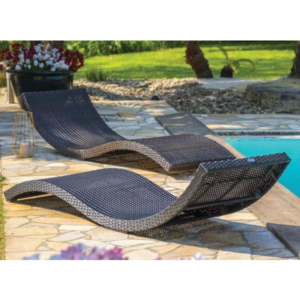 Lot de 2 lits bains de soleil empilables DCB Cancun résine tressée