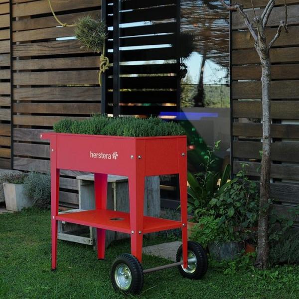 Potager urbain sur roulettes 75 x 35 x 80 cm Herstera Garden - Rouge