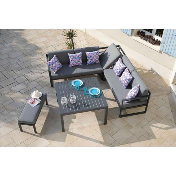Salon de jardin bas PROLOISIRS Royan avec canapé d\'angle et banc