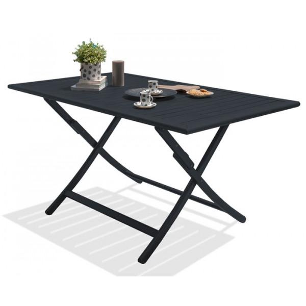 Table pliante MARIUS 140x80 cm en aluminium - GRIS ANTHRACITE