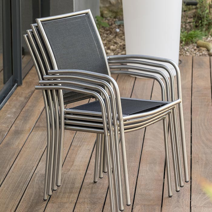 Lot de 6 fauteuils de jardin empilables Paris Garden Milano