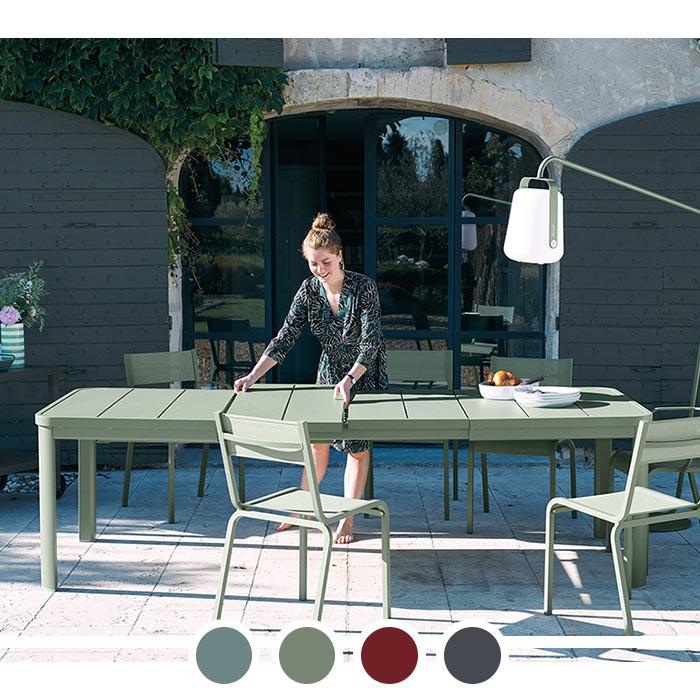 Table de jardin avec 2 rallonges FERMOB Oléron 155 / 255 x 100 cm
