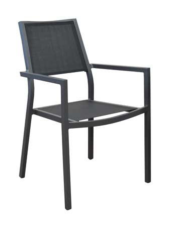 salon de jardin Tahaa 180-240 alizé fauteuils florence noirs
