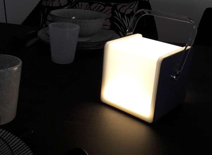 lampe cube proloisirs gris