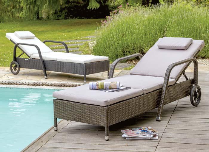 Lot de 2 lits bains de soleil DCB Monaco Multi-positions avec roulettes