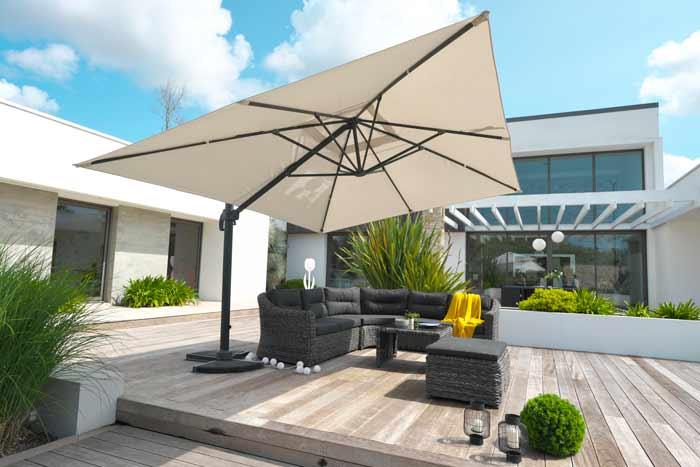 Parasol déporté DCB Garden SEVILLA 4x3m en aluminium gris anthracite et toile polyester