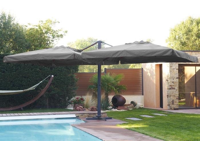 Parasol Ibiza DCB Garden 2 toiles 3x3m aluminium
