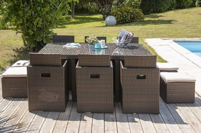 Salon de jardin Encastrable Aluminium DCB 10 personnes