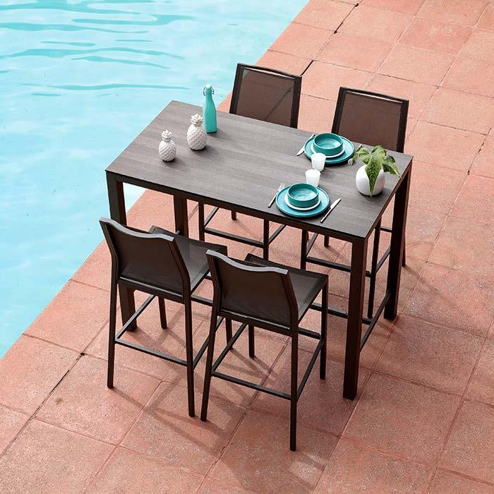 Salon de jardin Mange Debout STONEO café + 4 chaises hautes IDA café