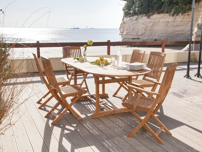 table de jardin en bois de Teck Hampton
