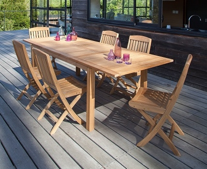 table de jardin en bois de Teck Madagascar