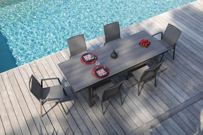 Table de jardin avec rallonge PROLOISIRS Téramo 180/235