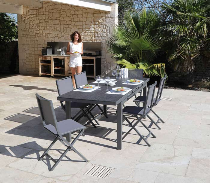 Salon de jardin PROLOISIRS Table Teramo 180/235 grise + 6 ...