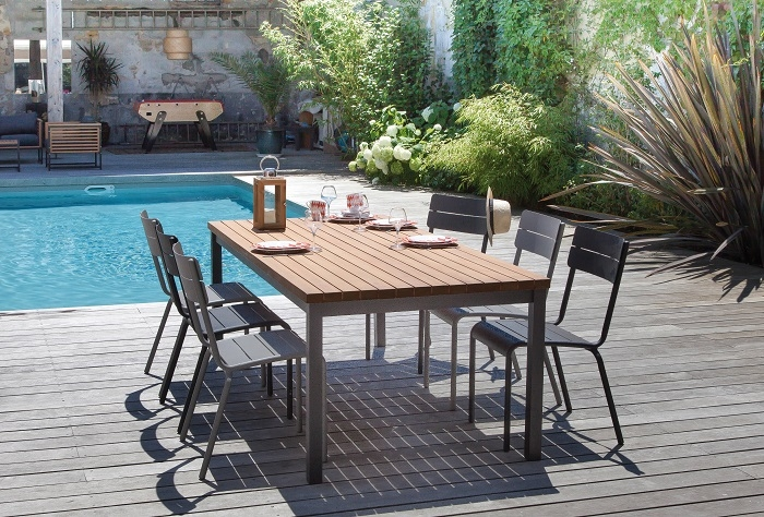 table de jardin en bois d'Eucalyptus FSC vegas 210